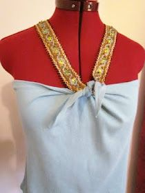 DIY, Easy Sewing, Halter, Summer Top, Bandeau, beaded trim