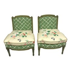 French Style Green-Painted Slipper Chairs - A Pair