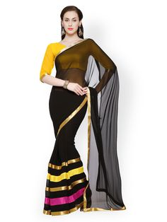 Buy Designersareez Black Faux Georgette Fashion Saree - 495 - Apparel for Women - 474269