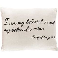 Burlap I Am My Beloved's Pillow