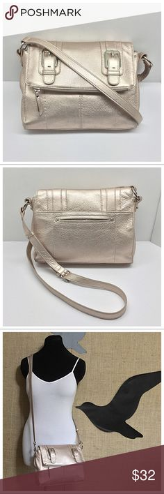 "💕B. Makowsky Metallic Crossbody💕 🚫Trades/Holds🚫 BM Crossbody  - Pebbled platinum/pale gold metallic leather, silver hardware, flap w/ mag. snap closure  - Back slip phone pocket holds iphone 6 (6+ fits interior slip pocket)  - Signature lining, 1 zip + 2 slip pockets, 2nd compartment inside flap  - About 10.5"" x 9 x 2.5, strap drop=24.5"" max w/ 5 settings  - Pre-loved, clean lining, corners in good condition, no splits/cracks in edging, some scratches on hardware, non-smoking Plz ask ?s…"