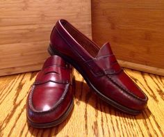1e2a08625f2 G H Bass Weejuns Burgundy Leather Penny Loafers Shoes Welted US Mens Sz 7  5M