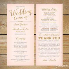 Blush Pink and Gold Wedding Program by MyCrayonsPapeterie on Etsy // Printable Wedding Program