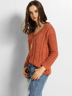 #AdoreWe #FashionMia Sweaters - FashionMia V Neck Plain Back Lace-up Sweater - AdoreWe.com
