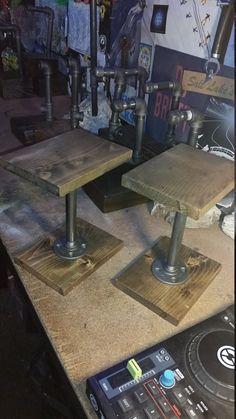 Monitor speaker stands, small stereo or bookshelf spoeaker stands - Custom stained wood with metal pipe