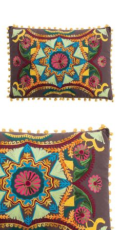 A colorful pillow is always a bright idea. Beautifully hand-stitched, this piece boasts a festive, multicolor motif with playful pom-pom trim. Its bold design mimics the look of Mexican Talavera potter...  Find the Talavera Pillow, as seen in the The Handmade Hotel in Yelapa Collection at http://dotandbo.com/collections/the-handmade-hotel-in-yelapa?utm_source=pinterest&utm_medium=organic&db_sku=118974