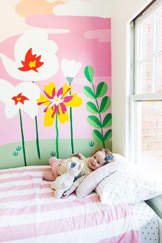 A Hand Painted Wall Mural floral wall mural A Hand Painted Wall Mural floral wall mural Kids Wall Murals, Kids Room Wall Art, Mural Wall Art, Mural Painting, Wall Paintings, Bedroom Murals, Bedroom Wall, Kids Bedroom, Bedroom Sets