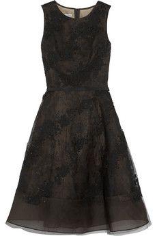 Oscar de la Renta Embellished lace-appliquéd tulle dress | NET-A-PORTER