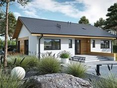 DOM.PL™ - Projekt domu ACX Mini 4 w. II CE - DOM UF1-11 - gotowy koszt budowy Farmhouse Design, Modern Farmhouse, Affordable House Plans, Dream House Exterior, Planer, Tiny House, Garage Doors, Shed, Outdoor Structures