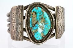 Navajo Sterling Silver  Turquoise Cuff Bracelet Dead Pawn