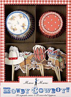 Meri Meri Cupcake Cases and Assorted Toppers (Set of 24) - Howdy Cowboy #MeriMeri