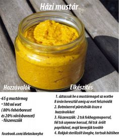 Házi mustár Homemade Mayonaise, Ital Food, Recovery Food, Gourmet Gifts, Hungarian Recipes, Dips, Canning Recipes, Diy Food, Vegan Recipes