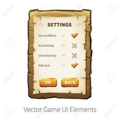 Similar Images, Stock Photos & Vectors of Game UI. Vector Game, Game Google, Ui Elements, Game Ui, Sound Effects, Stock Photos, Image, Google Search, Wood