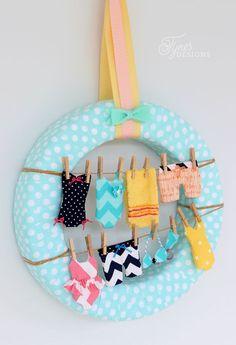 Summer Wreath Idea- Swimsuits on the Clothesline