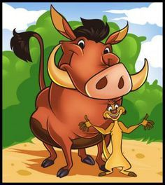 how to draw timon and pumbaa