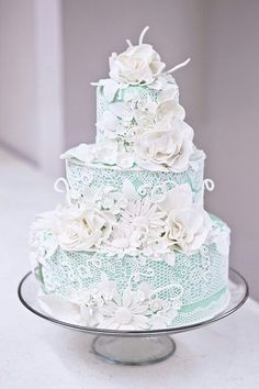 Lace wedding cake -- I would like this one better without the flowers. And I might change the white to ivory/cream.