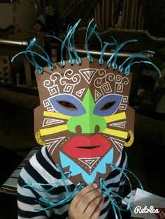 Colourful owl mask craft project for the kids (including free printable templates - love love LOVE the bright colou… in 2020 African Art For Kids, African Art Projects, Thema Hawaii, Africa Craft, Afrique Art, 5th Grade Art, School Art Projects, Thinking Day, Masks Art
