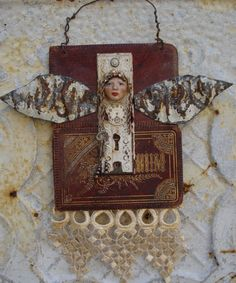Altered Angel with Ceiling Tin Wings Assemblage