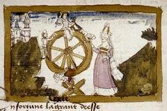 La Rueda de la Fortuna. Christine de Pisan, Épitre d´Othéa (Francia, c.1450-1475) Bodleian Library MS Bodl. 421, fol.52v.