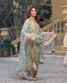 Image may contain: 1 person, standing and outdoor Pakistani Party Wear Dresses, Shadi Dresses, Designer Party Wear Dresses, Pakistani Wedding Outfits, Pakistani Dress Design, Indian Designer Outfits, Indian Dresses, Indian Outfits, Beautiful Pakistani Dresses