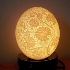 Lamp & # 039; atmosphere in egg d & # 039; carved ostrich