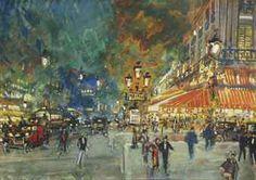 Konstantin Korovin (1861-1939) | Place de l'Opera with Café de la ...
