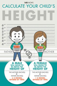 Child height chart | Sheknows.com Basically add the two parents heights (in inches) and add 5 inches for boy and minus 5 inches for a girl and then divide by 2. Apparently it has an error rate of 10%. ****Environmental factors, of course, can change growth.