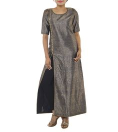 Blue Silk Kurti #indianroots #fusionwear #kurti #silk #occasionwear #eveningwear #summerwear