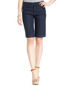 Jones New York Signature Tummy-Control Denim Bermuda Shorts, Indigo Blue Wash