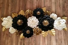 """144 Likes, 5 Comments - Blanca (@abgm.artdesign) on Instagram: """"Set of flowers in colors white, black and gold #paperflowers #elegant #decor…"""""""