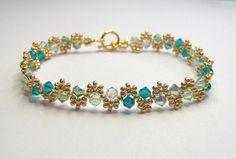 Green swarovski elements bracelet green and door BuzzybeeBeading