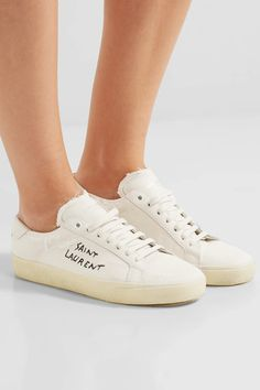 Rubber sole measures approximately 25mm/ 1 inch Off-white canvas Lace-up front