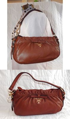 Authentic Prada Vintage Logos Ribbon Brown Leather Shoulder Bag Handbag Purse $250.2
