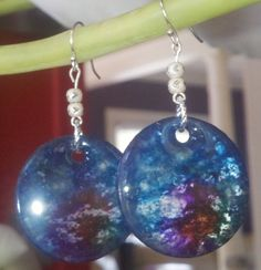 Stunning blue multicolored circle dangly earrings on platinum by Jewellori, $20.00