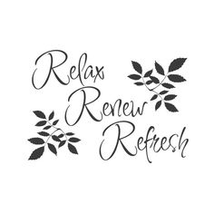 """Add this calming """"Relax, Renew, Refresh"""" wall quote decal to any room, and instantly add a little spa-upgrade to your walls. Spa Quotes, Relax Quotes, Massage Quotes, Salon Quotes, Bath Quotes, Relaxation Quotes, Wellness Quotes, Happy Quotes, Life Quotes"""