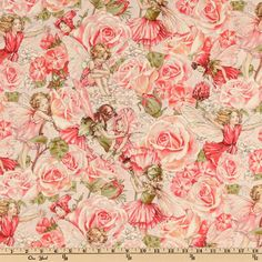 Michael Miller Sweet Flower Fairies Sweet Garden Rose from @fabricdotcom  Licensed from the estate of Cicely Mary Barker to Michael Miller Fabrics, this fabric features an allover design of sweet fairies in a rose garden. The color palette includes celedon, rose, peach and pink on an ivory background with metallic accents throughout.  Use for quilting and craft projects as well as apparel and home decor accents.