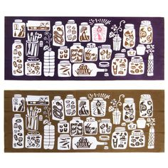 """Classiky Chusen Hand-dye Superior Quality TOKUOKA Cotton """"Cans& bottles"""" Print Tenugui by Mihoko Seki (Brown/purple) by niconecozakkaya on Etsy Japanese Illustration, Illustration Art, Japanese Prints, Illustrations And Posters, Hand Towels, Wraps, Canning, Superior Quality, Purple"""