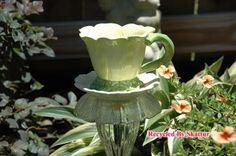 Teacup Bird Feeder Daisy Cup / Fine Art / Glass Art / Sculpture / Garden Yard Art by RecycledBySkattur for $25.00