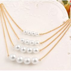 4 Layer Faux Pearl Bead Necklace