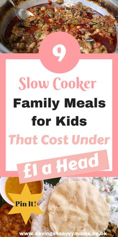 9 Slow Cooker Family Meals for Kids That Cost Under a Head Slow cookers are great for making cheap and easy meals and require very little effort or money, plus make great kids meals for under a head by Laura at Savings 4 Savvy Mums Family Meals Uk, Cheap Family Meals, Cheap Meals, Kids Meals, Group Meals, Family Recipes, Frugal Meals, Budget Meals, Easy Meals