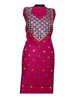 Cotton Handmade Phulkari Kurti Handicraft Phulkari Kurti is made on Cotton.  - This  is Hand emrbroidered with thread of Pat, which makes it more beautiful.  - Product Cloth is Cotton Length is 2.5 Meter. Can be made length upto 42. & Size 50. This is Unstitched Kurti  - Dry Clean/Soft Wash Shop Now : http://www.jankiphulkari.com/rani-cotton-handmade-phulkari-kurti-jkh1219