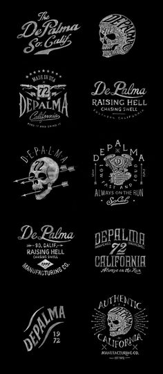Depalma on Behance Shirt Print Design, Tee Design, Logo Design, Tattoo Lettering Fonts, Types Of Lettering, Graphic Design Typography, Graphic Design Illustration, Hang Ten, Logo Guidelines