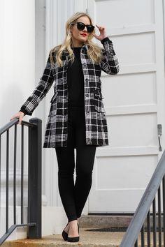 Black and White Plaid Coat on CaliCrest.com