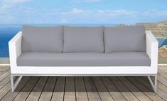 Velago Capriasca Outdoor Sofa in Stainless Steel and White Wicker Rattan Furniture, Outdoor Furniture, Outdoor Sofa, Outdoor Decor, White Wicker, Patio Umbrellas, Patio Seating, Love Seat, Cushions