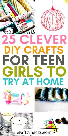 25 Super Cute DIY Crafts for Teen Girls Try these DIY crafts for teen girls and get creative. These fun DIY for teens will take your creative projects to a whole new level. The post 25 Super Cute DIY Crafts for Teen Girls appeared first on DIY Crafts. Diy Craft Projects, Diy Home Crafts, Easy Diy Crafts, Diy Projects For Teens, Cute Crafts, Diy Crafts To Sell, Kids Crafts, Creative Crafts, Fun Crafts To Do