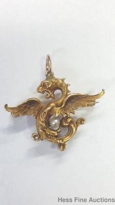 Huge Natural Pearl Victorian 14k Gold Cresarrow Tiffany Maker Gargoyle Pendant #Pendant