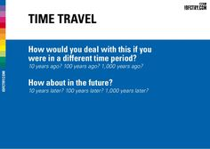 Time Travel How would you deal with this if you were in a different time period? IDFCTRY.COM 10 years ago? 100 years ago? 1,000 years ago? How about in the fut…