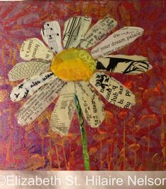 mixed media, flower, paper painting by GinaGalore