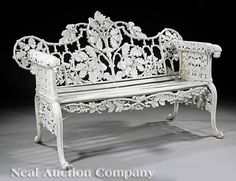 """Coalbrookdale Iron Bench in """"Oak and Ivy"""" Pattern"""