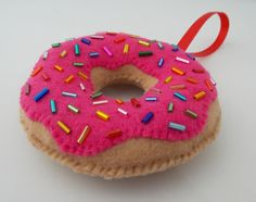 Strawberry Glazed Donut Ornament With Sprinkles by DanielleLondon